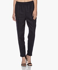 By Malene Birger Florah Striped Wool Blend Pants - Night Sky