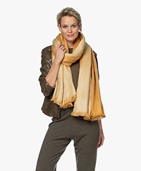 Alpaca Loca Handmade Two-tone Scarf  in Alpaca - Ochre Yellow/Natural