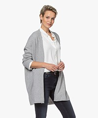no man's land Halflang Open Merino en Cashmere Vest - Soft Steel