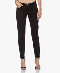 MKT Studio The Birkin Power Stretch Girlfriend Jeans - Black Garbage Wash