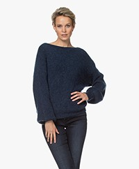 by-bar Soof Ribbed Boat Neck Pullover - Navy