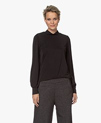 Plein Publique La Feline Modal Blend Mock Neck Long Sleeve - Black