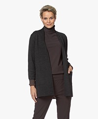 Sibin/Linnebjerg Joan Mid-length Two-tone Cardigan - Anthracite/Brown
