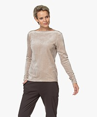 Woman by Earn Ditte Velvet Boat Neck Long Sleeve - Sand