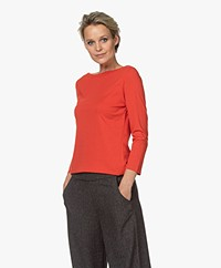Majestic Filatures Cotton Cropped Sleeve T-shirt - Red