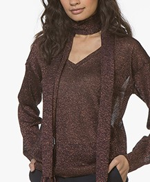 Closed Narrow Knitted Lurex Scarf - Vino