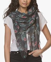 Drykorn Shield Linnenmix Sjaal met Bloemenprint - Zwart