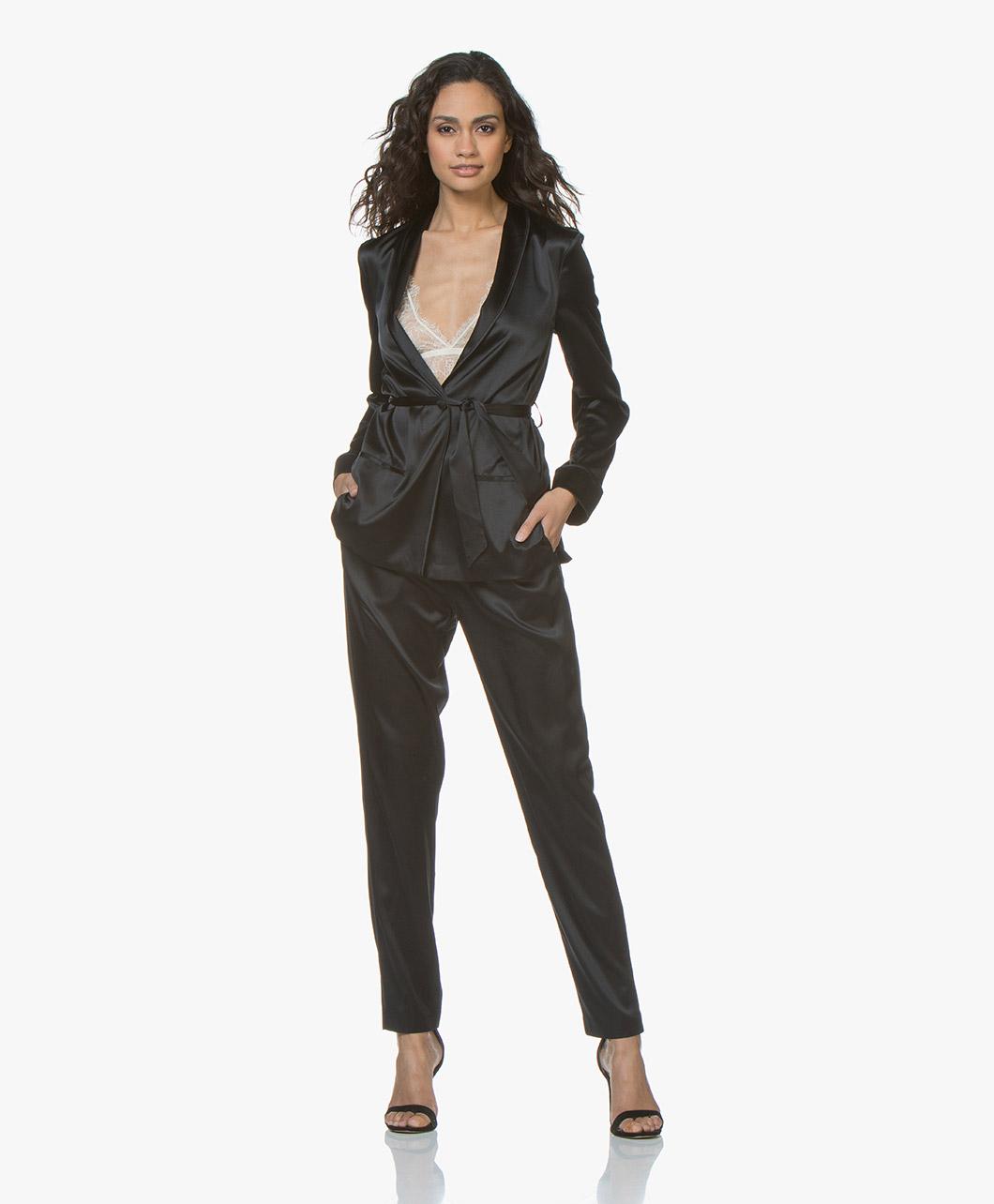 1509d5c4351829 Filippa K Silk Satin Pyjama Shirt - Black - 25702 1433