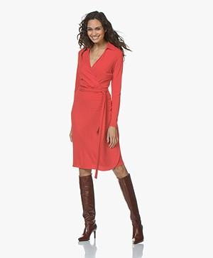 no man's land Jersey V-neck Wrap Dress - Scarlet