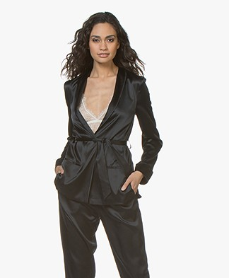 Filippa K Soft Sport Silk Satin Pyjama Shirt - Black
