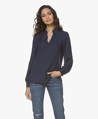 Filippa K V-neck Chiffon Blouse - Ink
