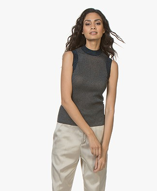 Rag & Bone Raina Lurex Tank Top - Denim Blue