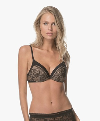 Calvin Klein Black Obsess Push Up Plunge Bra - Black