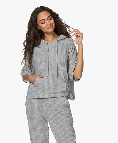 Calvin Klein Rib Knitted Hooded Sweater - Grey Heather