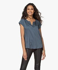 Repeat Silk Cap Sleeve Blouse - Ocean