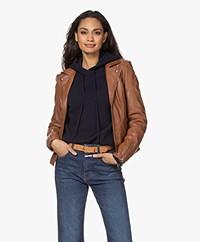 Repeat Luxury Leather Biker Jacket - Hazel