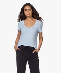 American Vintage Jacksonville Ronde Hals T-shirt - Sky Blue Vintage