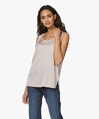 Repeat Sleeveless Silk Stretch Top - Beige