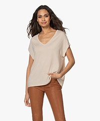 Majestic Filatures Superwashed Viscose V-hals T-shirt - Sable