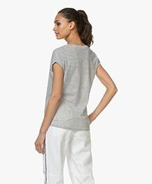 BY-BAR Mila Gestreept Linnenmix T-shirt - Off-white