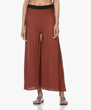 By Malene Birger Wide Leg Pants in Viscose Jersey - Red Clay