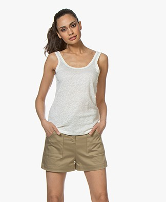 ba&sh Lulu Linen Tank Top - Off-white