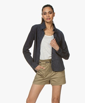 Majestic Suede Leather Shirt - Marine