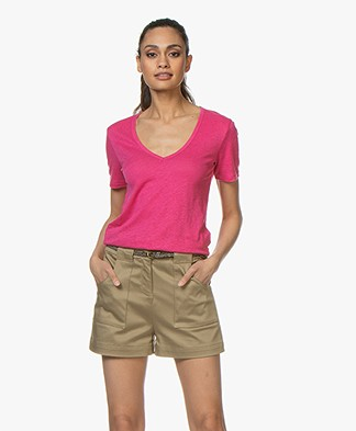 Closed Linnen V-hals T-shirt - Magenta