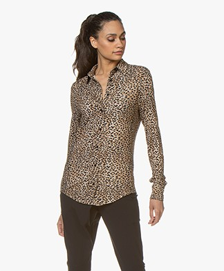 Ragdoll LA Leopard Jersey Blouse - Brown/Black
