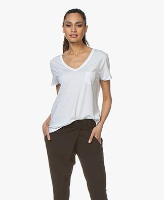 Repeat Lyocell V-hals T-shirt - Wit