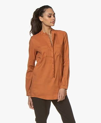 Woman by Earn Teddy Linen Blend Blouse - Burnt Orange