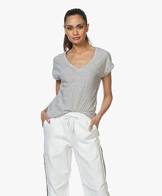 BY-BAR Mila Striped Linen Blend T-shirt - Off-white
