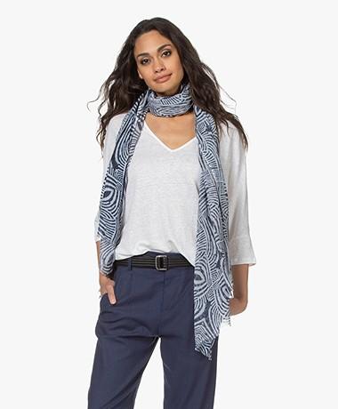 LaSalle Cotton Blend Zebra Printed Scarf - Blue/White