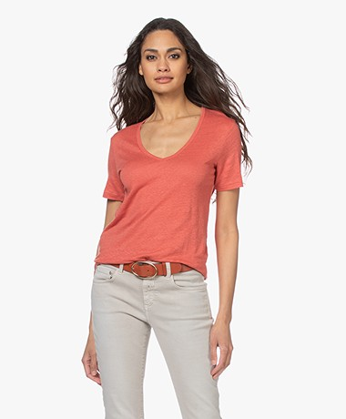 Closed Linen V-neck T-shirt - Dusty Coral