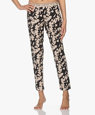 Calvin Klein Print Pyjamabroek - Poederbeige/Zwart