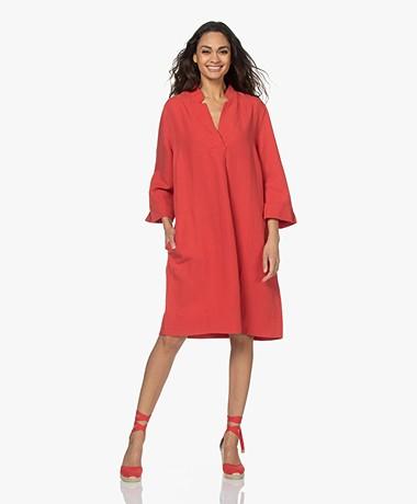 Kyra & Ko Livia Lyocell and Linen Blend Dress - Burnt Red