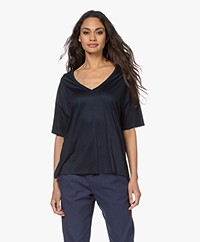 Drykorn Svennie Lyocell V-hals T-shirt - Donker Navy