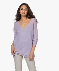 no man's land V-neck Mohair Blend Sweater - Pale Lilac