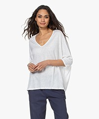 Majestic Filatures Linen T-shirt with Cropped Sleeves - White
