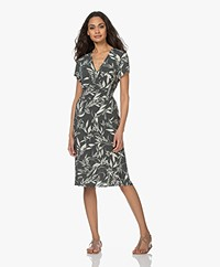 no man's land Viscose Jersey Print Dress - Dark Eucalyptus