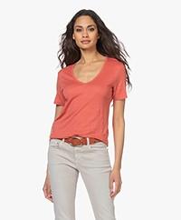 Closed Linnen V-hals T-shirt - Dusty Coral