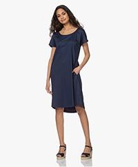 LaSalle Straight Stretch Cotton Dress - Navy