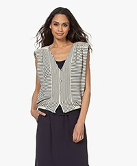 ba&sh Lony Sleeveless Striped Cardigan - Ecru