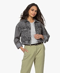 American Vintage Tizanie Cropped Denim Jacket - Bleached Grey