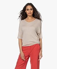 Sibin/Linnebjerg Cora Knitted Viscose T-shirt - Sand