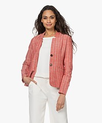 Kyra & Ko Dokus Striped Cotton and Linen Blazer - Burnt Red