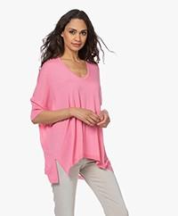 Sibin/Linnebjerg Elfa Fine Knit Viscose Blend Sweater - Flamingo