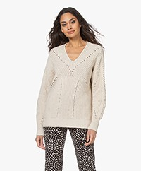 Repeat Chunky Knit V-neck Sweater in Cotton and Linnen - Ivory