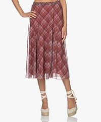Kyra & Ko Gabi Checked Mesh Circle Skirt - Burnt Red