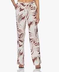 Kyra & Ko Kate Viscose Blend Crepe Print Pants - Burnt Red